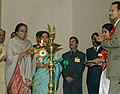Meira Kumar lighting the lamp at the presentation of the National Awards for Empowerment of Persons with Disabilities on the occasion of 'International Day of Disabled Persons' being organized by the Ministry of Social.jpg