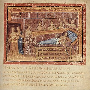 Dido - Aeneid, Book IV, Death of Dido. From the Vergilius Vaticanus (Vatican Library, Cod. Vat. lat. 3225).
