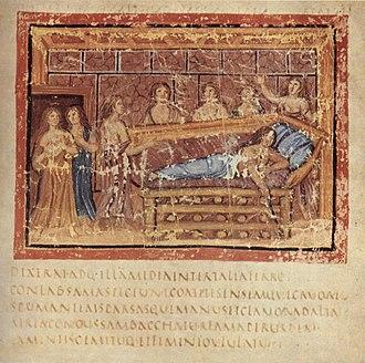 Dido - Aeneid, Book IV, Death of Dido. From the Vergilius Vaticanus (Vatican Library, Cod. Vat. lat. 3225).