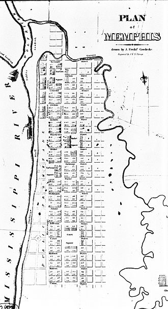 History of Memphis, Tennessee - The original plan for Memphis, as surveyed in 1819.
