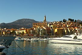 The harbour of Menton, with the basilica of Saint-Michel-Archange beyond, viewed from the Quai Napoléon III