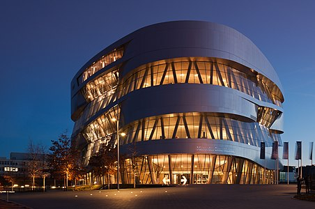 Mercedes-Benz Museum in Stuttgart, Germany, during blue hour.