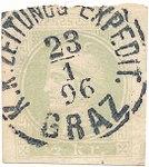 Merkur K.K. Zeitungs Expedit Graz 1896 Halber Kreuzer.jpg