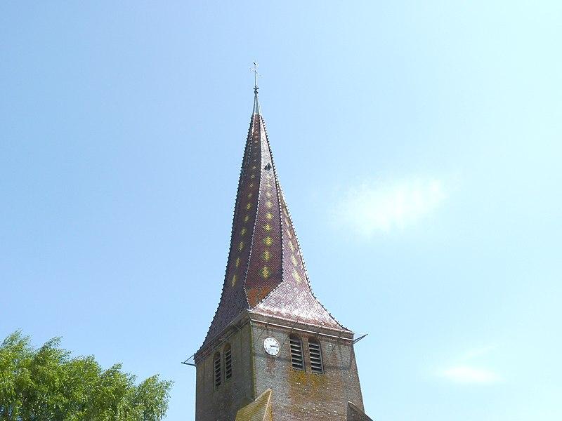 Church of Mervans, twisted steeple (Saône-et-Loire, Burgundy, France).