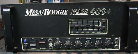 "A Mesa/Boogie bass amplifier ""head""; note the graphic equalizer sliders on the right side Mesaboogie bass 400plus front.jpg"