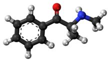 Ball-and-stick model of the methcathinone molecule