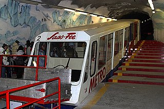 Metro Alpin underground funicular situated above the Swiss town of Saas Fee