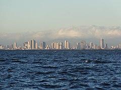 Metro Manila view from Manila Bay - Roxas Boulevard skyline (Fort San Felipe, Cavite City)(2017-04-03)