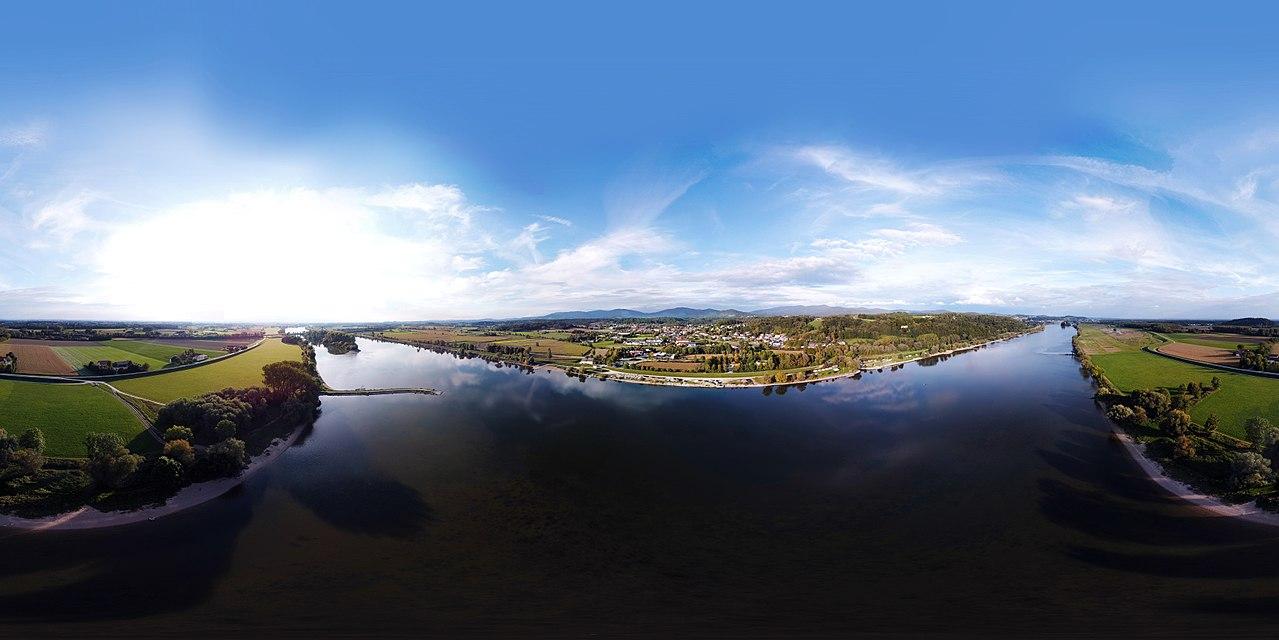 360° Panorama der Donau am Mettenufer