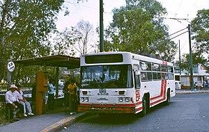 Servicio de Transportes Eléctricos - An STE trolleybus at Tasqueña in 1990