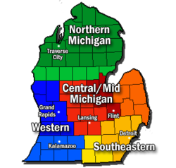 Regions and major cities of the Lower Peninsula