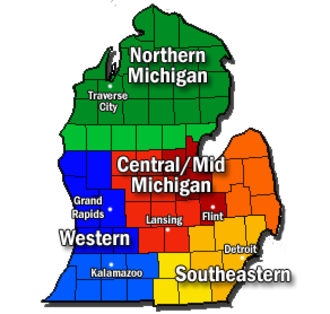 Southern Michigan - Southern Michigan is located between the Western and Southeastern regions of Michigan.