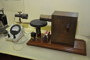 Jagadish Chandra Bose - Bose's 60 GHz microwave apparatus at the Bose Institute, Kolkata, India. His receiver (left) used a galena crystal detector inside a horn antenna and galvanometer to detect microwaves. Bose invented the crystal radio detector, waveguide, horn antenna, and other apparatus used at microwave frequencies.