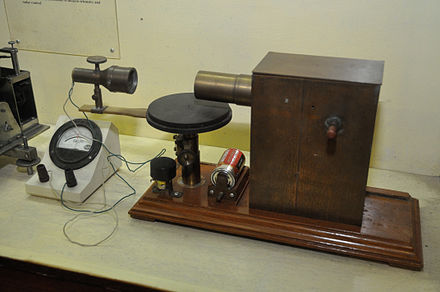 Bose's 60 GHz microwave apparatus at the Bose Institute, Kolkata, India. His receiver (left) used a galena crystal detector inside a horn antenna and galvanometer to detect microwaves. Bose invented the crystal radio detector, waveguide, horn antenna, and other apparatus used at microwave frequencies. Microwave Apparatus - Jagadish Chandra Bose Museum - Bose Institute - Kolkata 2011-07-26 4051.JPG