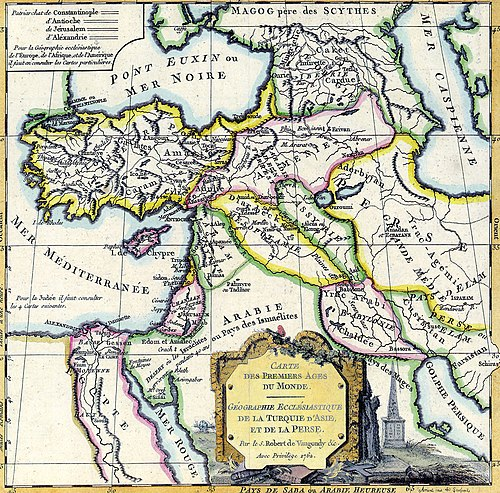Map of the Near East by Robert de Vaugondy (1762), indicating Canaan as limited to the Holy Land, to the exclusion of Lebanon and Syria Middle East by Robert de Vaugondy.jpg