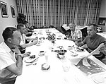 Mike Collins (left), Neil Armstrong, Bill Anders, Buzz Aldrin, and Deke Slayton during the pre-launch breakfast.jpg