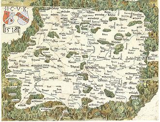 Krkonoše - Krkonoss on Mikuláš Klaudyán's map of Bohemia, 1518