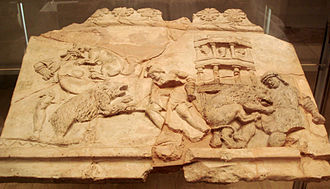 Ludi - Terracotta plaque (1st century) depicting a venatio, or human-animal blood sport