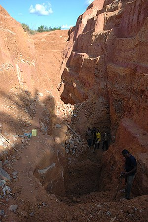 Kailo Territory - Miners in an open put mine in Kailo, 2007