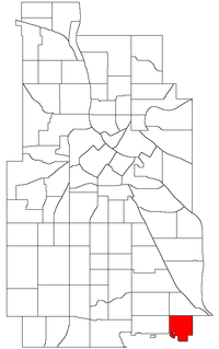 Location of Morris Park within the U.S. city of Minneapolis