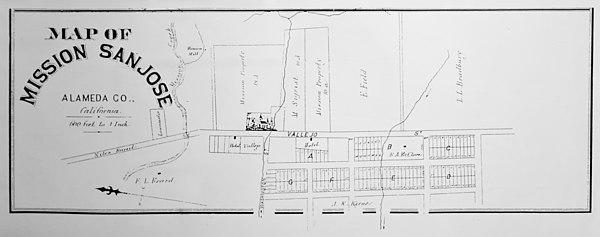Mission san jos california wikiwand historical map of the mission and surroundings malvernweather Choice Image