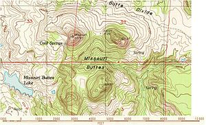 Missouri Buttes - Topographic map of the Missouri Buttes area