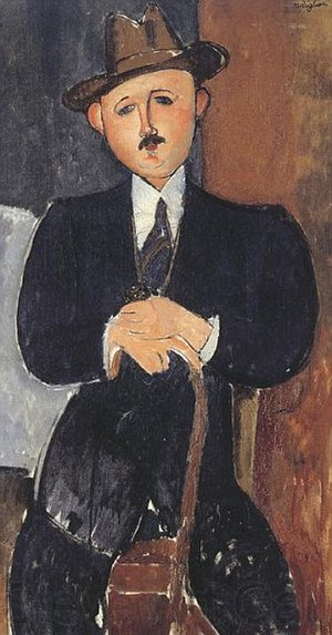 David Nahmad - Amedeo Modigliani, Seated Man with a Cane, 1918.