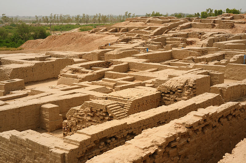 The earliest evidence of fired clay bricks was found in Mohenjodaro, Punjab, Pakistan from ca. 2600 BCE. Credit: Wikipedia Commons