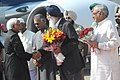 Mohd. Hamid Ansari being welcomed by the Chief Minister, Punjab, Shri Parkash Singh Badal, on his arrival, at Chandigarh airport. The Governor of Punjab, Shri Shivraj Patil and the Chief Minister of Haryana.jpg