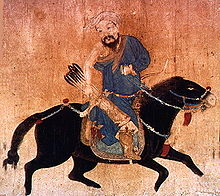 Painting of Mongol archers on horseback