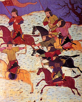 Mongol military tactics and organization - Mongol cavalry archery from Rashid-al-Din Hamadani's Universal History using the Mongol bow.