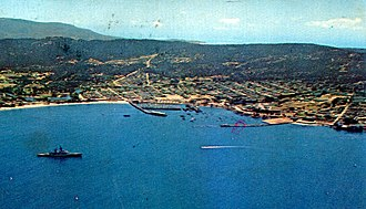 Presidio of Monterey, California - Monterey in 1968. Presidio of Monterey in the right of the photo.