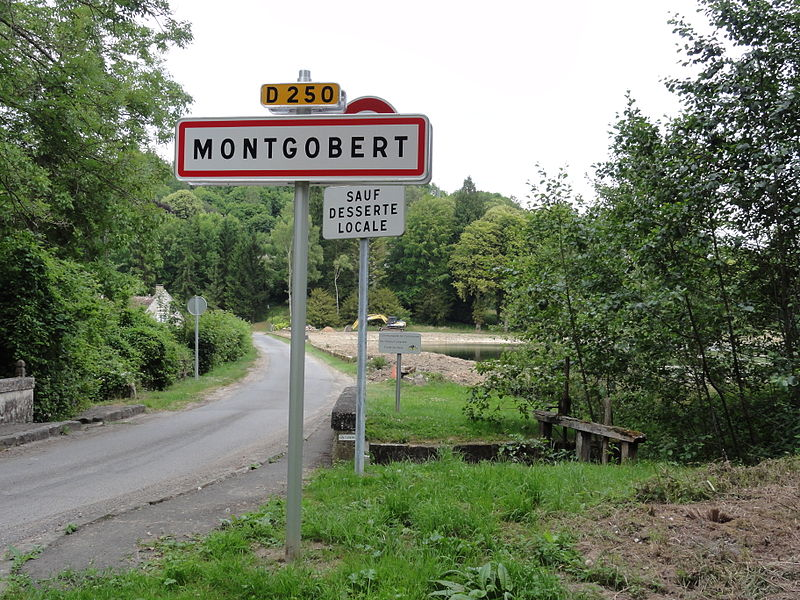 Montgobert (Aisne) city limit sign