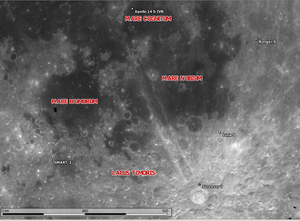 SMART-1 - Location of the Smart 1 impact, in relation to other moon objects.