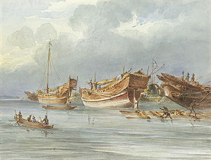 Early 19th century painting of pirate boats an...
