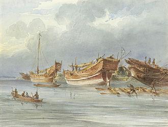 Sitakunda Upazila - Early 19th-century painting of pirate boats anchored near Chittagong coast