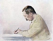 Doyle intento alla scrittura, ritratto da Mortimer Menpes (prima del 1930)