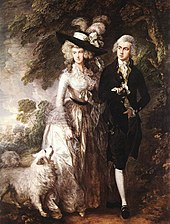 """A man and a woman walking next to a wood with their white dog. The woman is dressed in a white 18th-century gown and a black hat, and the man is dressed in a black suit with white stockings."""