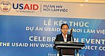 Mrs Diep Thi Hang Nga, Vice Director of Dai Viet Garment Enterprise, speaks at the completion event. (9089614635).jpg