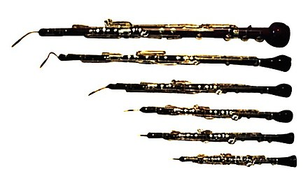 The members of the oboe family from top: heckelphone, bass oboe, cor anglais, oboe d'amore, oboe, and piccolo oboe Musette To Heckel.jpg