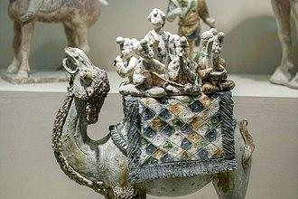 Tang dynasty tomb figures - A band of musicians mounted on a camel