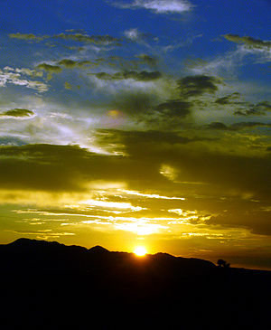 Mojave Desert - Mustard blue summer sunset at Landers, California