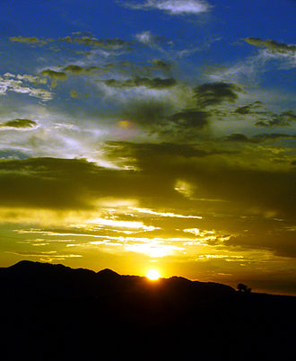 Mojave Desert - Mustard blue summer sunset at Landers, California