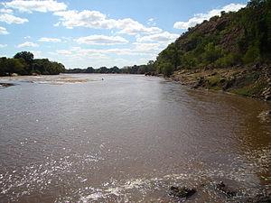 Mzingwane River - Mzingwane River above Fulton's Drift (causeway), near Beitbridge, Zimbabwe