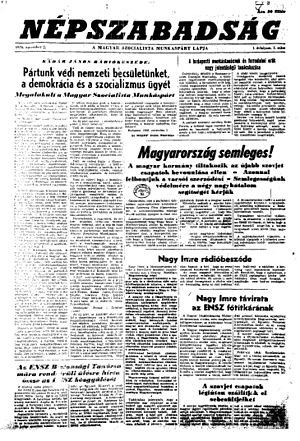 Népszabadság - Front page of the first issue from 2 November 1956