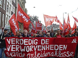 New Communist Party of the Netherlands - NCPN at a demonstration, 1 May 2014 in Amsterdam.