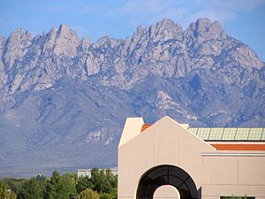 New Mexico State University - Zuhl Library with Organ Mountains in the background.