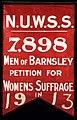 NUWSS Men of Barnsley Suffrage Banner, 1913. - 23185471083.jpg