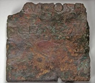 Classis Germanica - Fragment of a bronze plaque from Naaldwijk (NL) with the inscription CLASSISAV