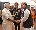 Narendra Modi at 'Shauryanjali', a commemorative exhibition on Golden Jubilee of 1965 war, at India Gate, in New Delhi. The Union Home Minister, Shri Rajnath Singh and the Chief of Army Staff.jpg
